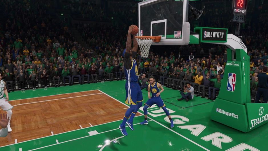 DeMarcus Cousins dunking the ball against the Boston Celtics.