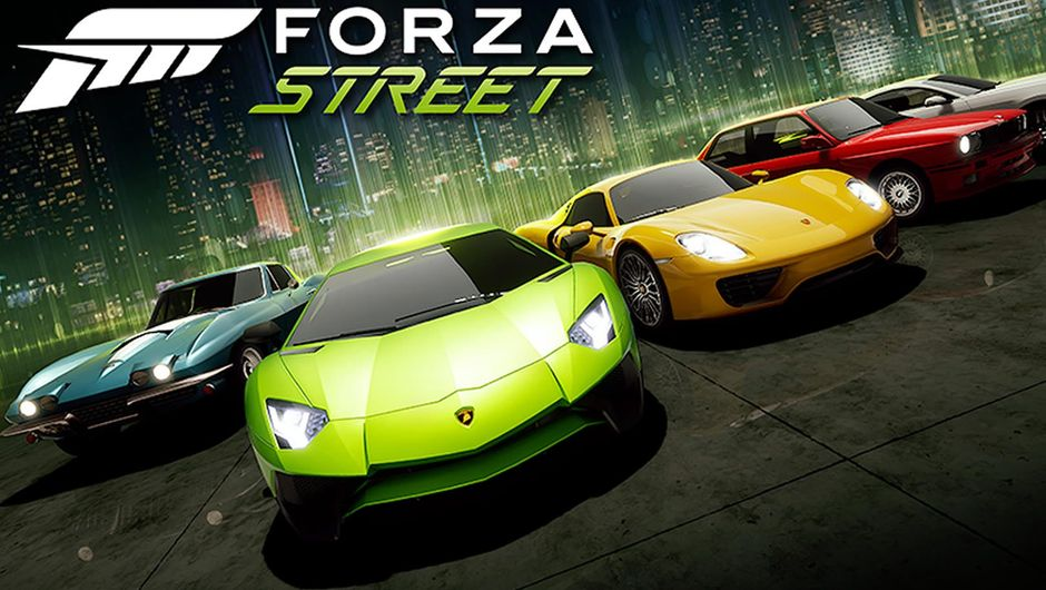 Cars lined up on a Forza Street poster