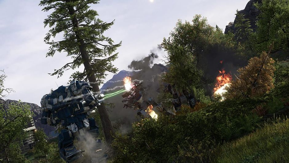 Two large mechanized walkers shooting at each other in a forest