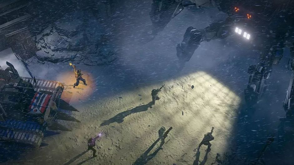 Screenshot of Rangers and a Scorpitron in Wasteland 3