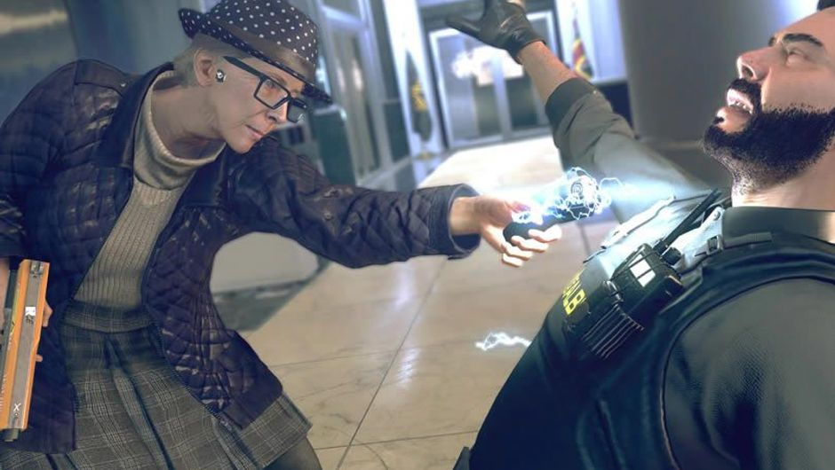 Old lady tazering a security guard in Watch Dogs: Legion