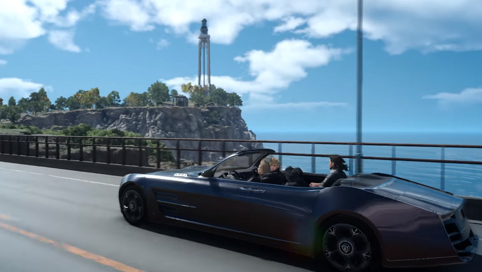 Final Fantasy XV characters driving along a coast
