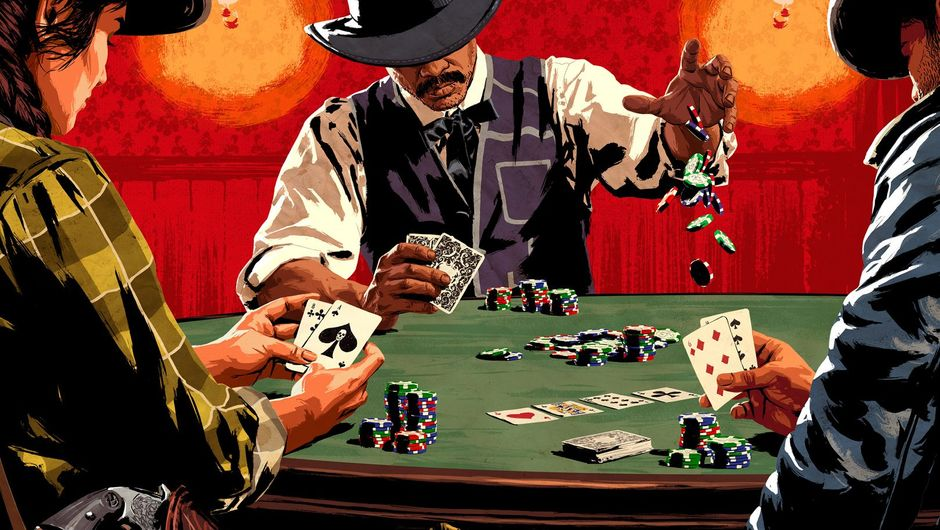 red dead online artwork showing three persons playing a game of cards