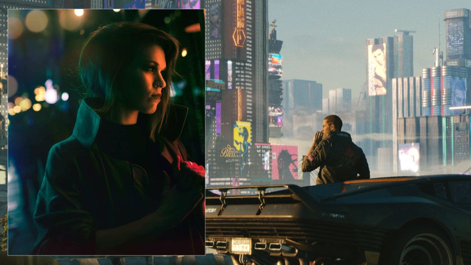 A photo of Hollie Bennett, and a screenshot from Cyberpunk 2077
