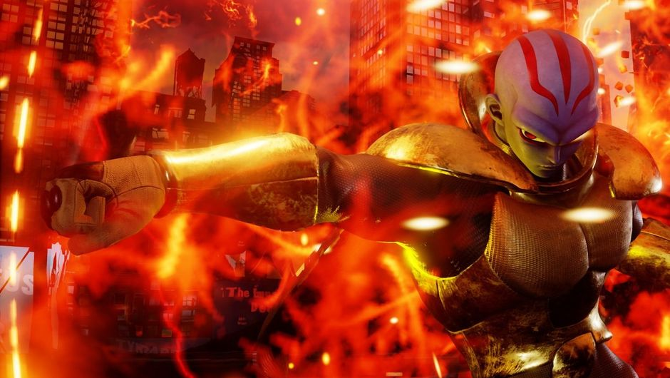 Villain Kane standing in fire in Jump Force.