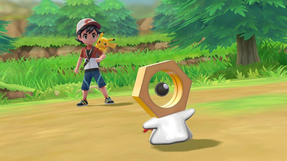 Picture of a young trainer with the new Pokemon Meltan