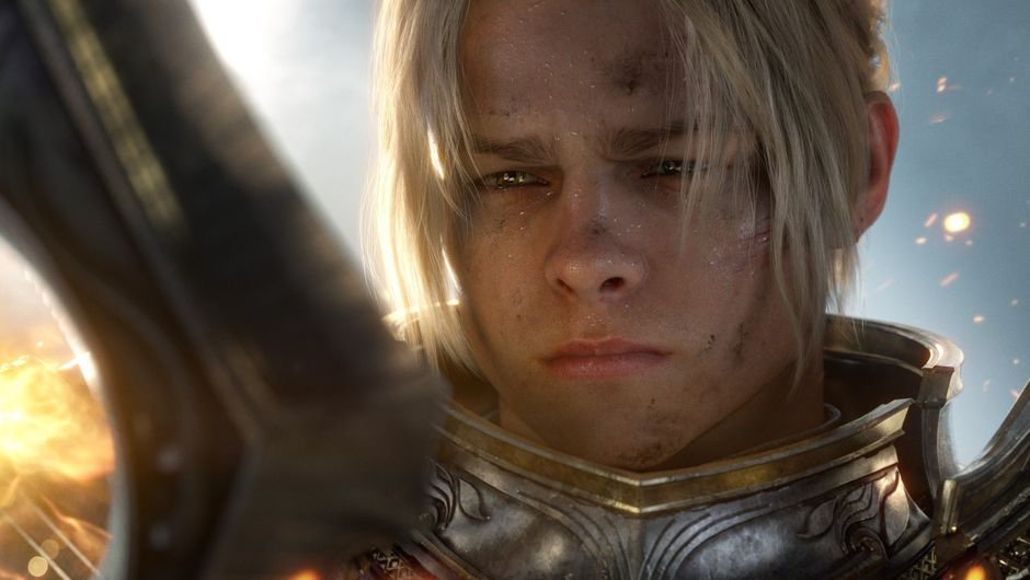A screenshot from World of Warcraft: Battle for Azeroth trailer featuring a closeup on king Anduin Wrynn who looks a lot like Brad Pitt.