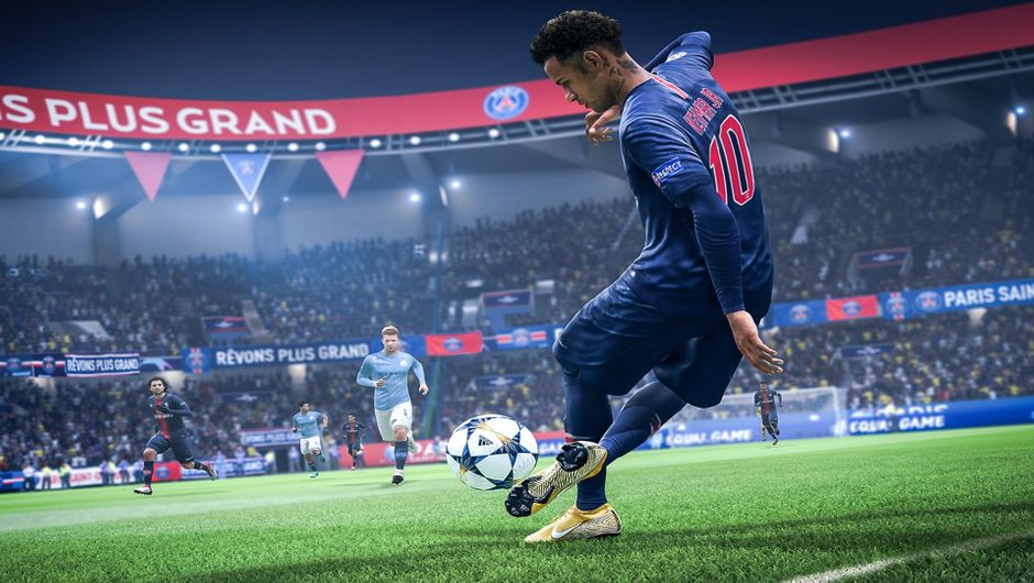 Neymar doing a rabona kick in FIFA 19