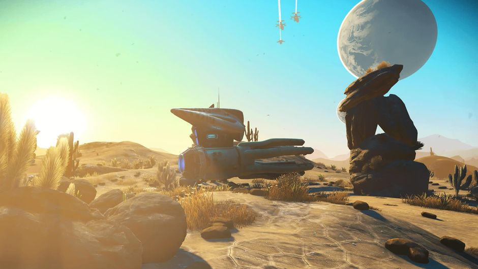 A spaceship on a rocky planet from the game No Man's Sky