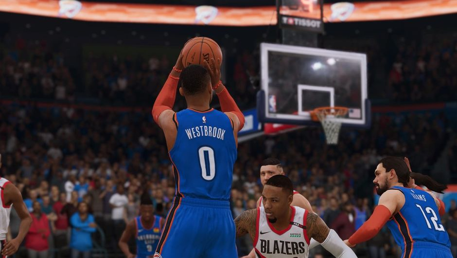 Russell Westbrook shooting the ball in NBA Live 19.