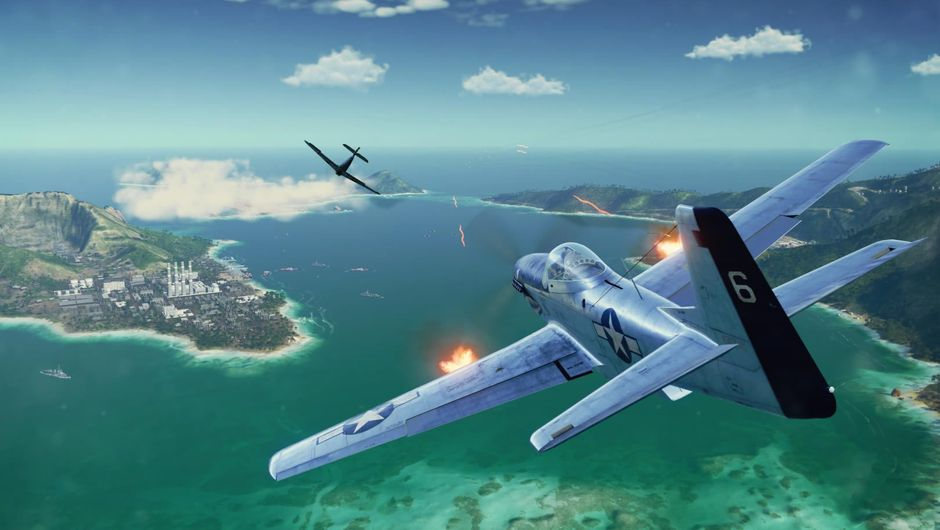 A WWII jet fighter flying over an archipelago in World of Warplanes