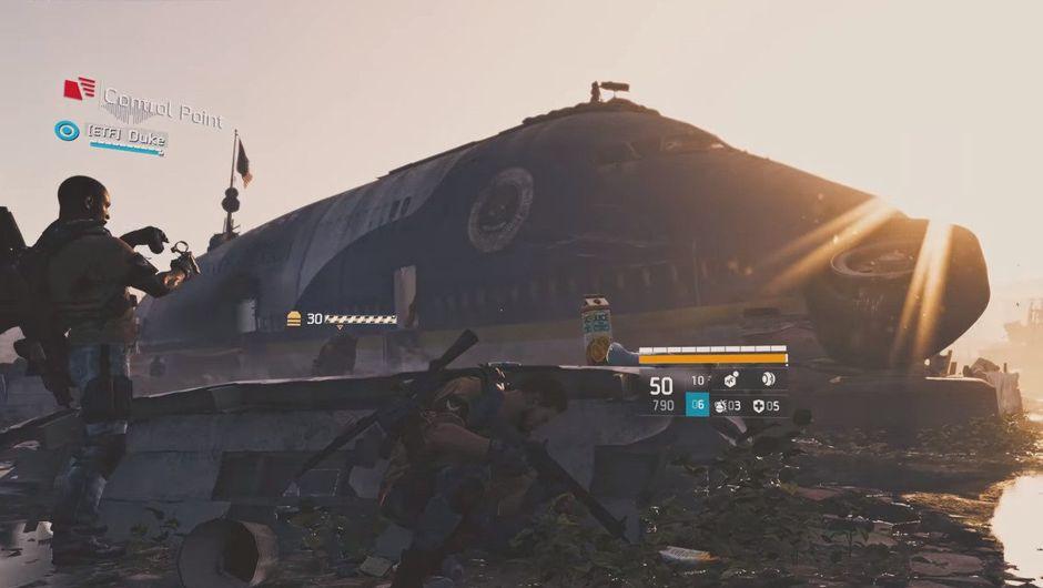 The Division 2 screenshot shows several SHD agents shooting up random NPCs