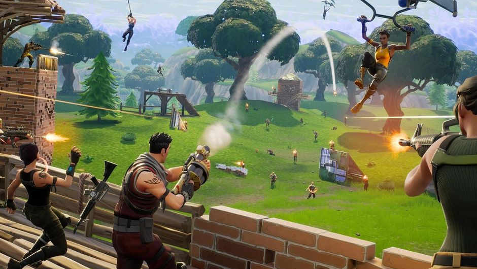 A group of people fighting another group in Epic's Fortnite