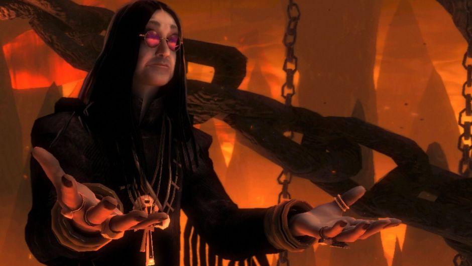 Screenshot of Ozzy Osbourne's cameo from Brutal Legend