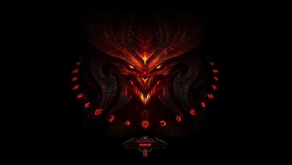 Promotional image for Diablo 3 starring a red creep on black background