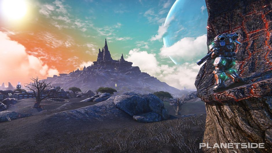A futuristic soldier looking at a sunset in Planetside Arena
