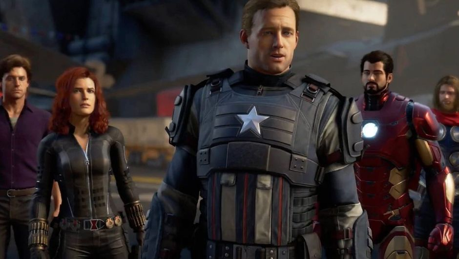 screenshot from Marvel's Avengers showing captain america, iron man and black widow