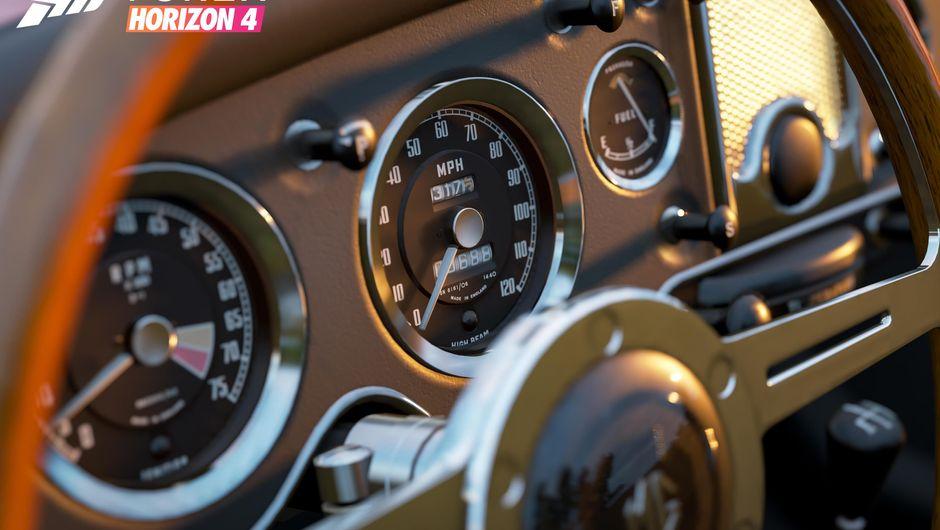 A dashboard of a racing car in Forza Horizon 4