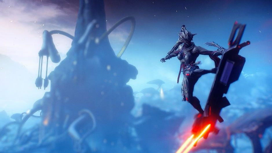 A Tenno riding a hoverboard in Warframe's Fortuna expansion