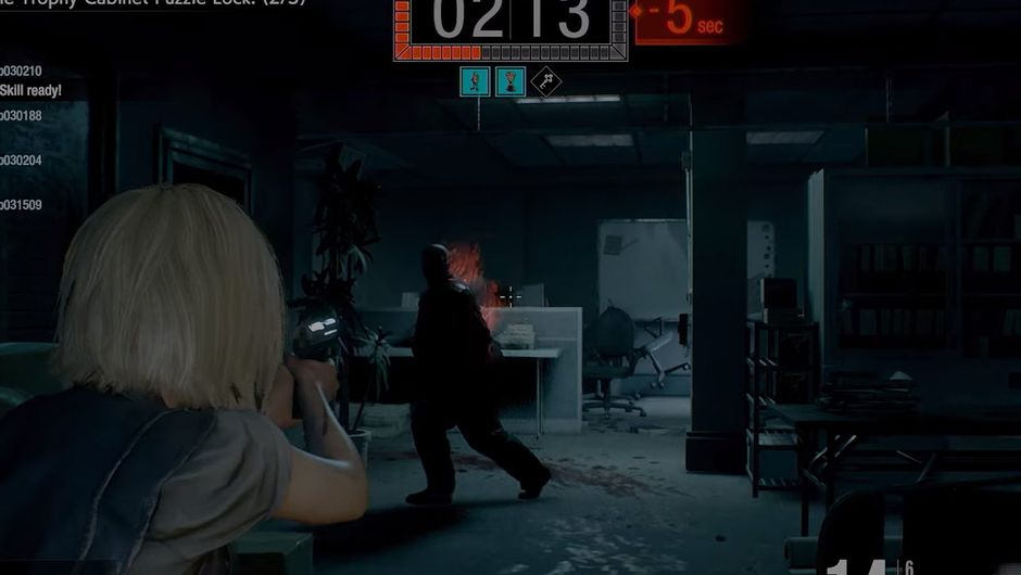 project resistance screenshot showing female character shooting at zombie