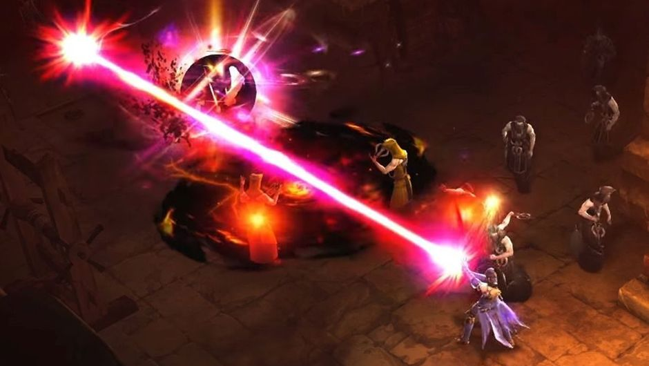 Several game characters fighting with weapons and magic