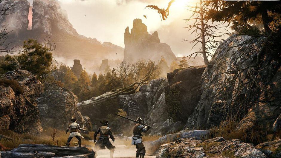 Greedfall screenshot showing three characters in a river