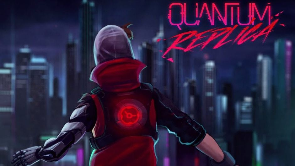 Concept art for Quantum Replica showing the protagonist looking at the neon city