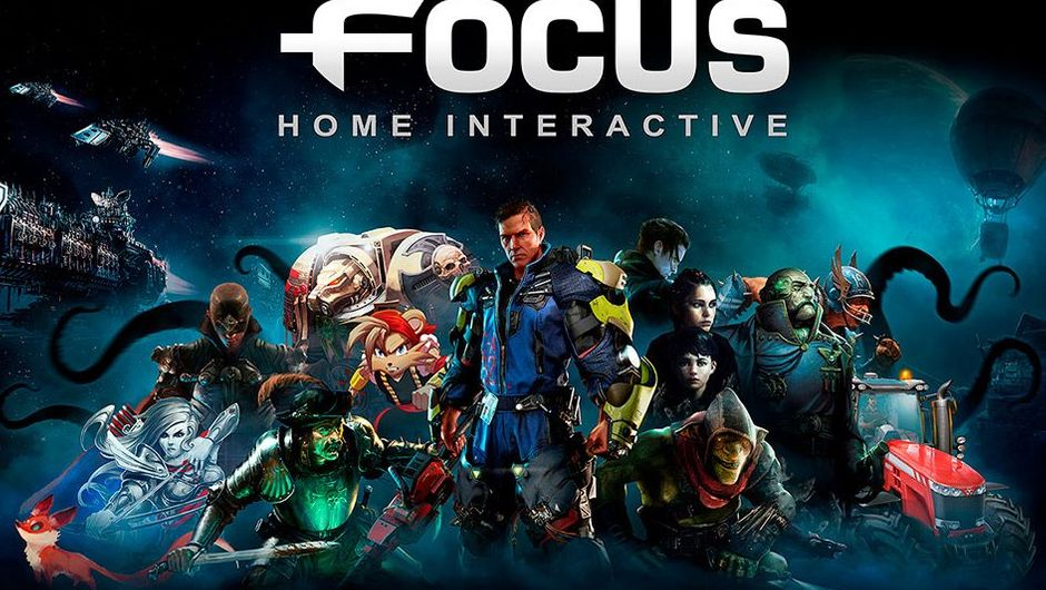 Picture with a bunch of characters from Focus Home Interactive games