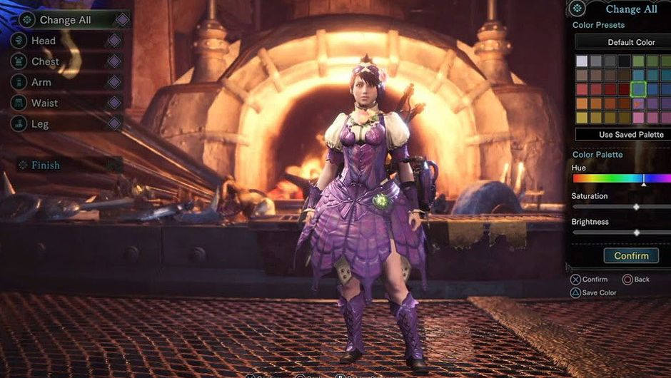 screenshot from Monster hunter world showing female character wearing purple armor