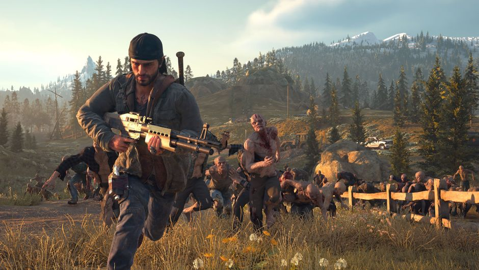Days Gone protagonist running from a horde of zombies