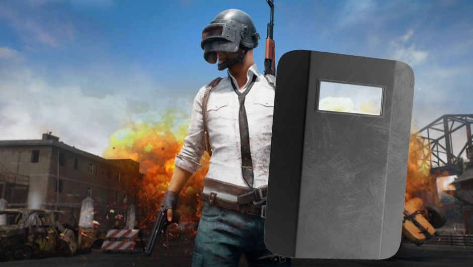 pubg artwork showing a character with riot shield
