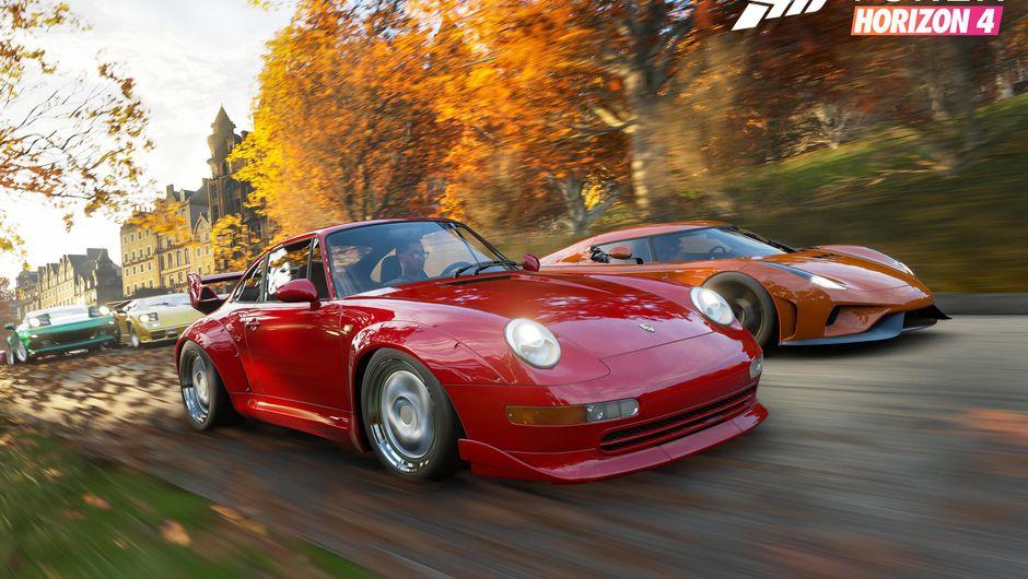 A red Porsche 911 racing in Forza Horizon 4