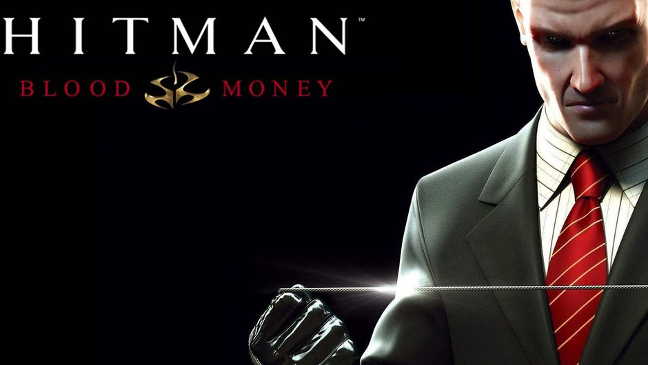 Hitman Blood Money promotional picture showing Agent 47 with a garrote.