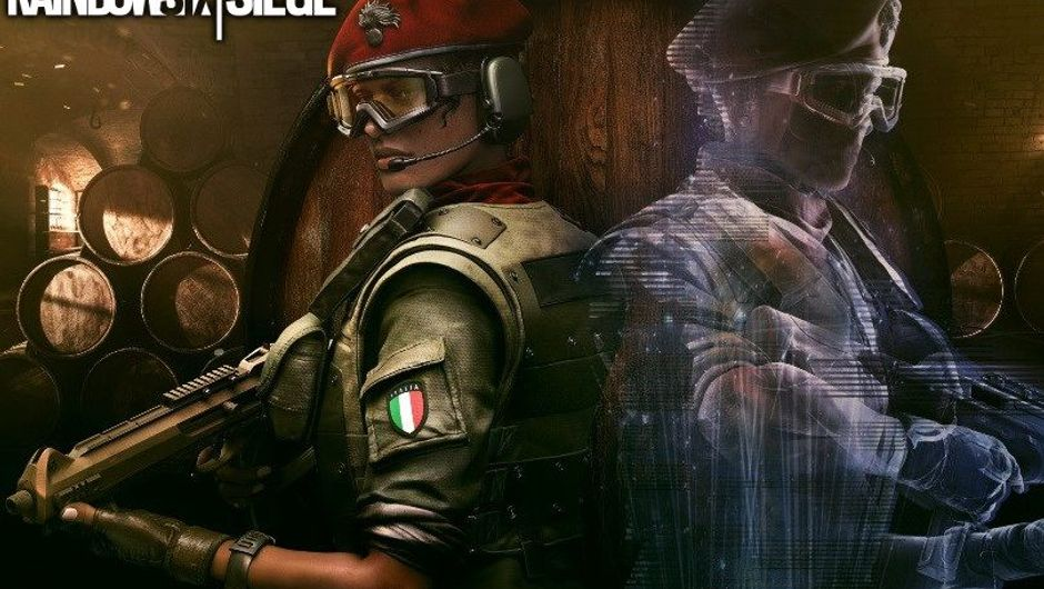 Splash art for Alibi, the Italian operator from Rainbow Six Siege