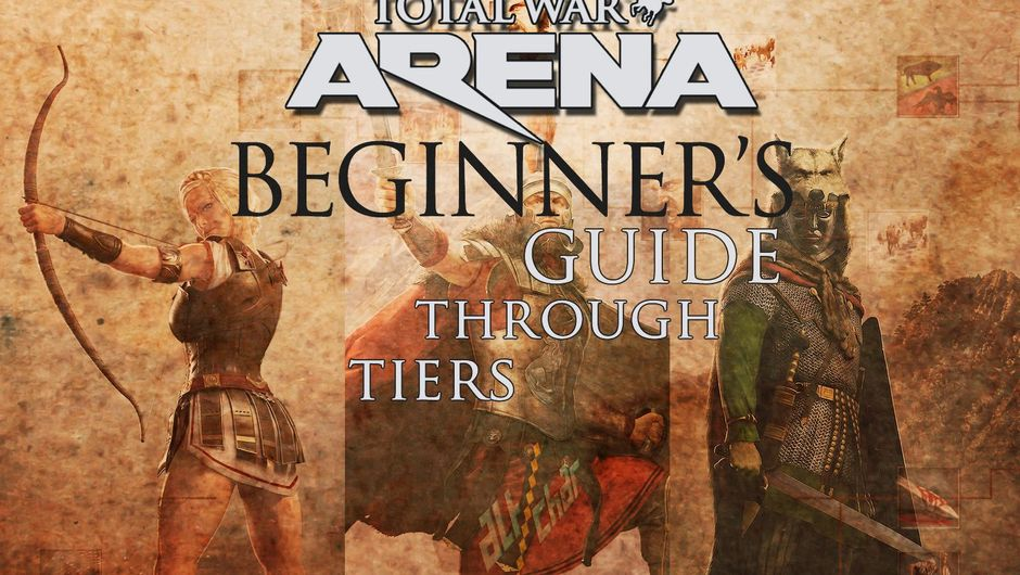 Poster for a game guide showing three leaders from Total War: Arena