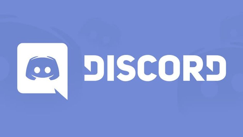 White logo for voice chat application Discord on blue background