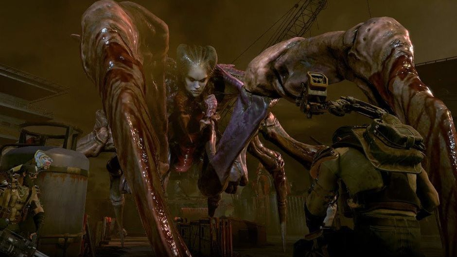 Screenshot from Phoenix Point displaying a terrifying spider-human hybrid creature.
