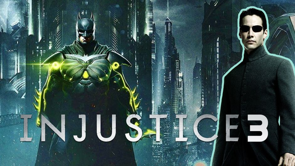 artwork showing batman, neo from the matrix and injustice 3 logo