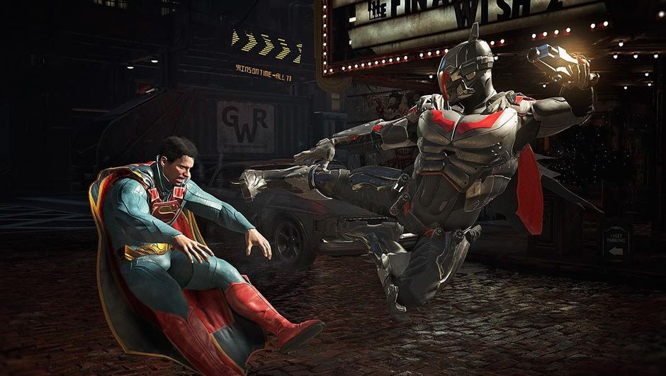 Batman fighting Superman in Injustice 2, while he's wearing his futuristic suit.