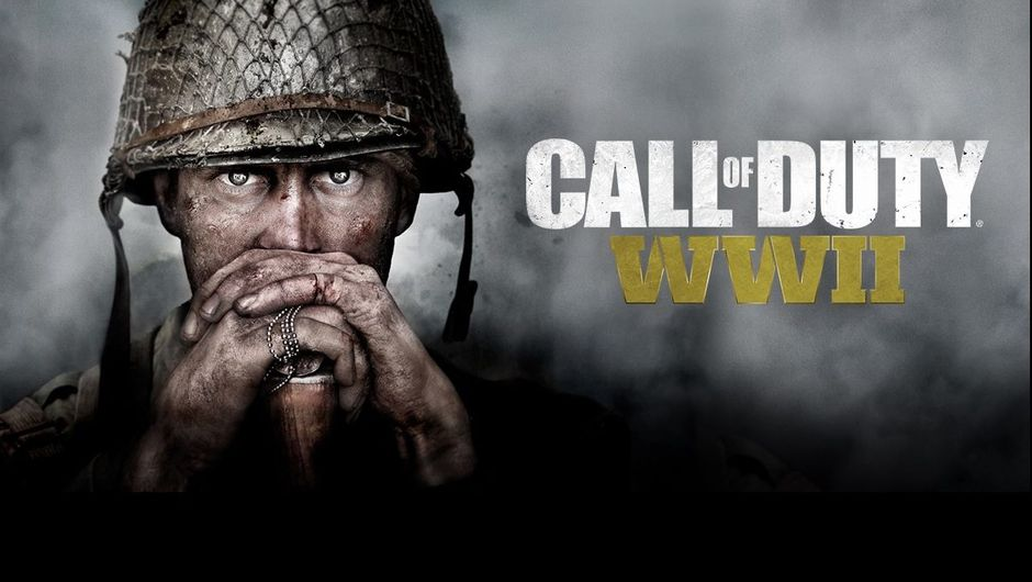 Call of Duty WW2 poster showing a soldier with a thousand yard stare.