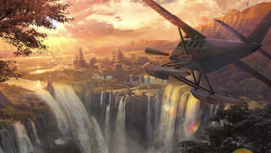 A plane flying to a sunset-bathed waterfall in Just Cause 4