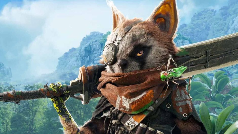 Hero from Biomutant posing with his sword on his shoulder