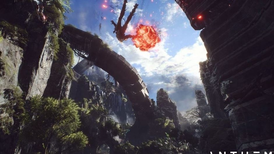 Screenshot from anthem showing a Javelin flying through the air with explosions around