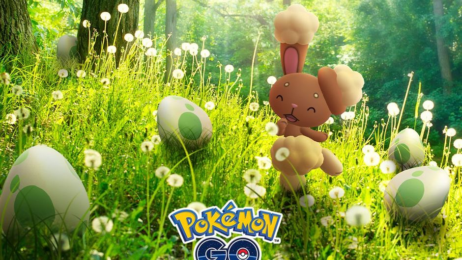 Pokemon Go promo art showing shiny buneary walking in forest
