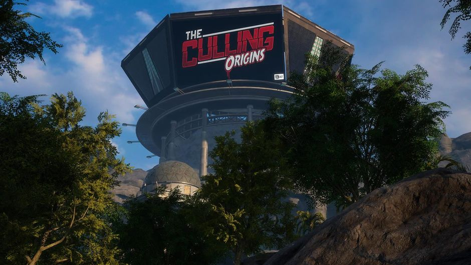 A large building with the sign The Culling: Origins