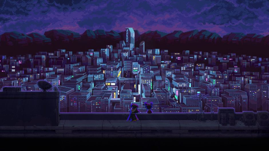 Picture of a city at night in Katana Zero