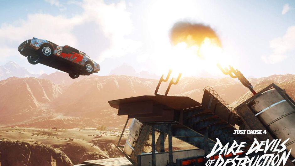 screenshot from just cause 4 showing a red car flying over a platform