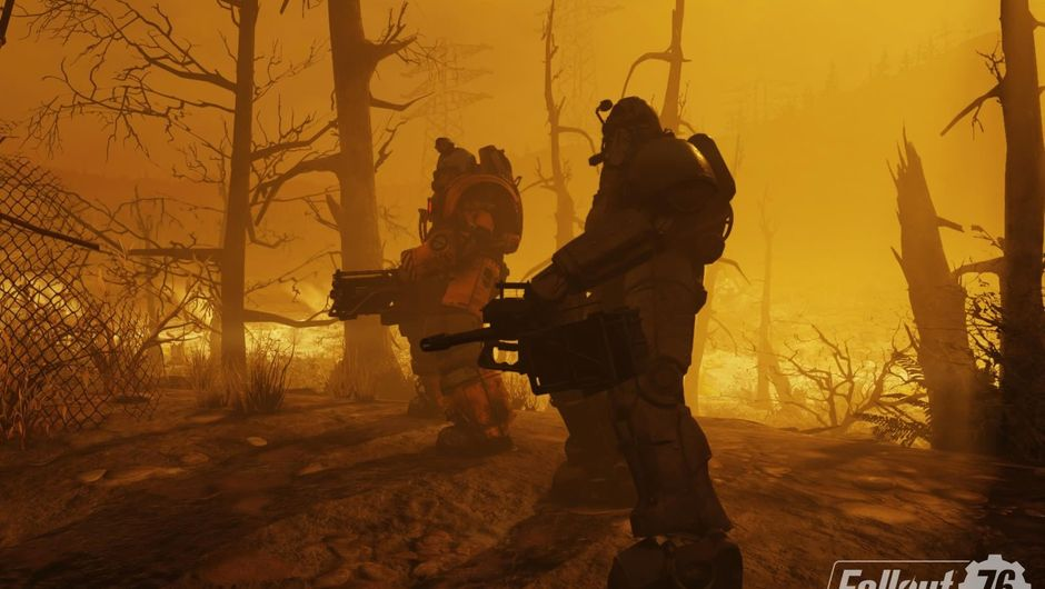 Two armoured men in Bethesda's Fallout 76