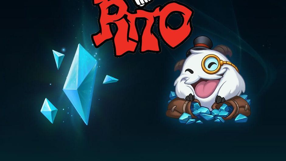 Promotional image for League of Legends' Blue Essence Emporium with a spoofed Riot Games logo.