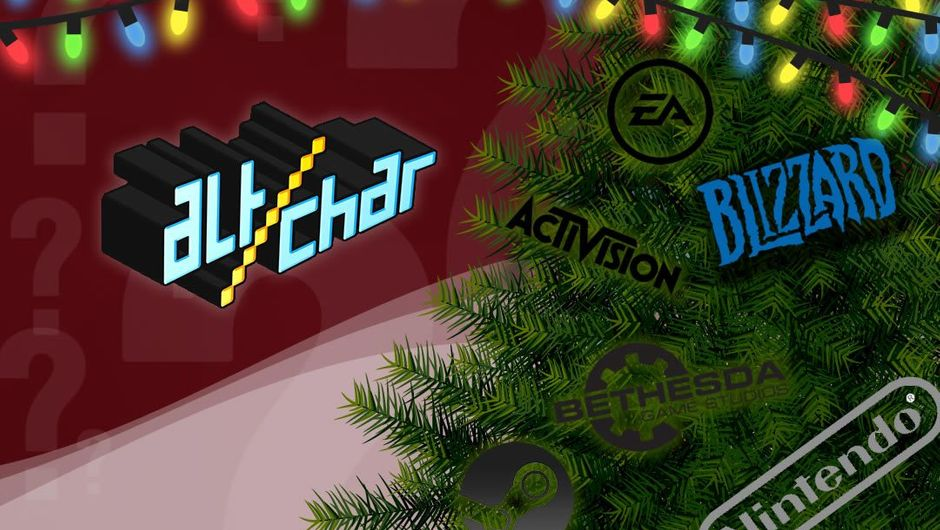 AltChar logo next to a Christmas tree with game company logos on it